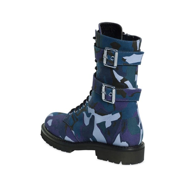 Camouflage Combat Boots Lace up Round Toe Mid-calf Boots image 2