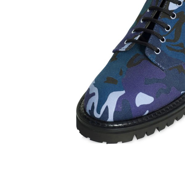 Camouflage Combat Boots Lace up Round Toe Mid-calf Boots image 4