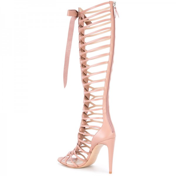 Pink Gladiator Sandals Knee-high 4 Inches Lace up Heels for Women image 2