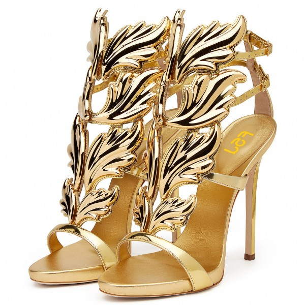 Golden Shoes Formal Luxury Stiletto Heel Sandals for Big Event image 1
