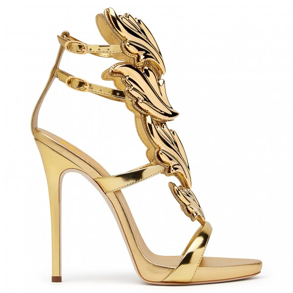 Gold Evening Shoes Luxury Metallic Heels Stiletto Sandals for Party image 3