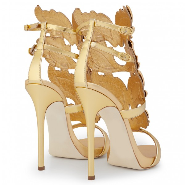 Gold Evening Shoes Luxury Metallic Heels Stiletto Sandals for Party image 4