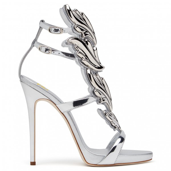 Silver Evening Shoes Dress Shoes Stiletto Heels Mirror Leather Sandals image 3