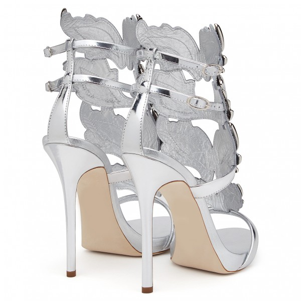 Silver Evening Shoes Dress Shoes Stiletto Heels Mirror Leather Sandals image 4