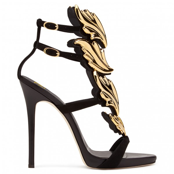 Black and Gold Evening Shoes Stiletto Heel Sandals Prom Shoes image 3