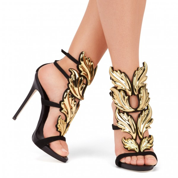 Black and Gold Evening Shoes Stiletto Heel Sandals Prom Shoes image 2