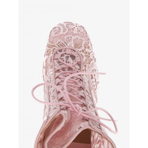 Pink Lace Chunky Heel Boots Mesh Lace up Ankle Booties image 3