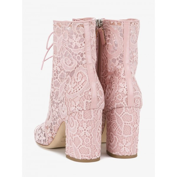 Pink Lace Chunky Heel Boots Mesh Lace up Ankle Booties image 4