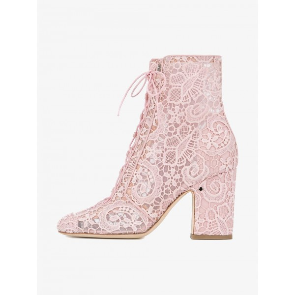 Pink Lace Chunky Heel Boots Mesh Lace up Ankle Booties image 6