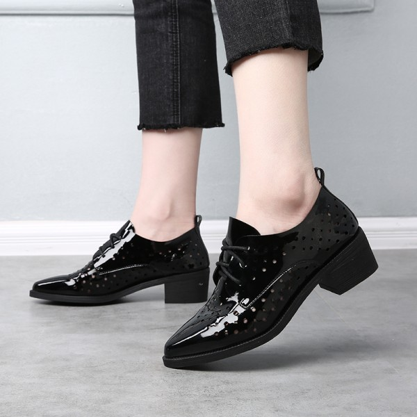 Women's Black Patent Leather Pointed Toe Vintage Hollow-Out Lace-up Women's Oxfords image 4