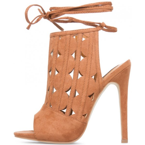 Khaki Peep Toe Slingback Hollow out Summer Boots Strappy Shoes image 2