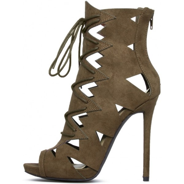 Brown Summer Boots Suede Front Lace up Peep Toe Stiletto High Heels image 2