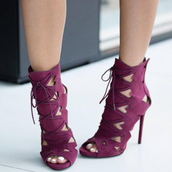 Burgundy Lace up Sandals Stiletto Heels Hollow out High Heel Shoes image 2