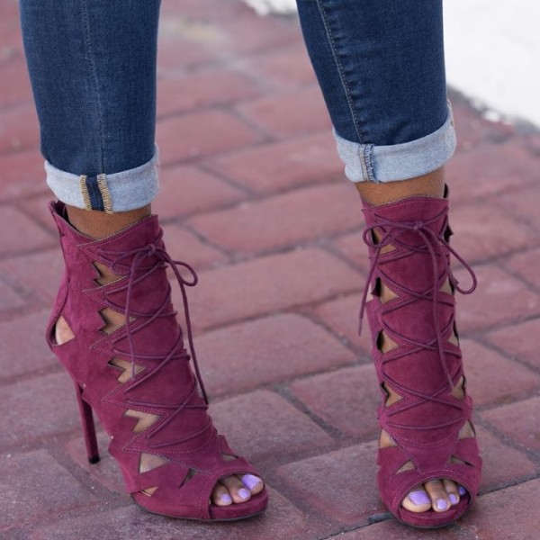 Burgundy Lace up Sandals Stiletto Heels Hollow out High Heel Shoes image 3