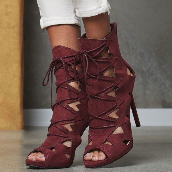Burgundy Lace up Sandals Stiletto Heels Hollow out High Heel Shoes image 6