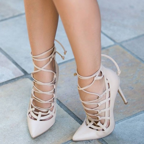 Women's Beige Crossed Straps Sexy Upper Stiletto Pumps Strappy Shoes image 2
