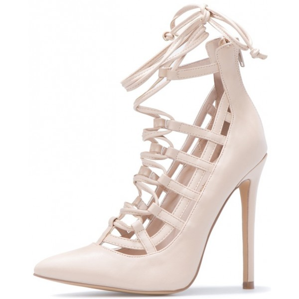 Women's Beige Crossed Straps Sexy Upper Stiletto Pumps Strappy Shoes image 3