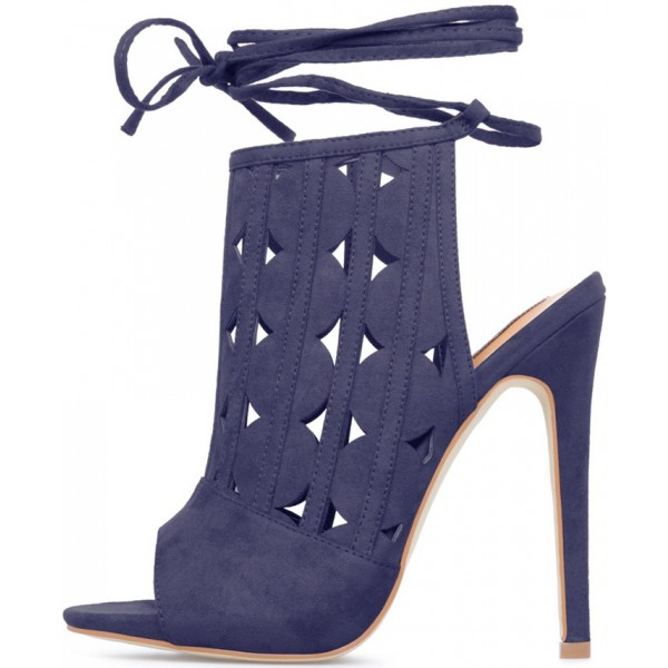 Women's Navy Peep Toe Slingback Hollow Out Strappy Heels Summer Boots image 3