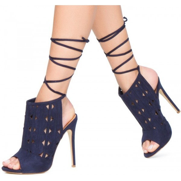 Women's Navy Peep Toe Slingback Hollow Out Strappy Heels Summer Boots image 2