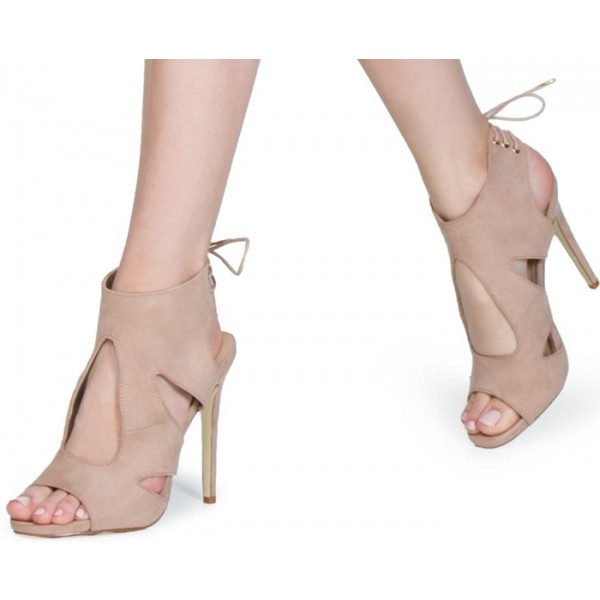 Beige Stiletto Heels Suede Open Toe Cutout  Slingback Sandals image 1