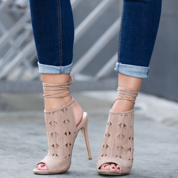 Women's Nude Slingback Hollow Out Strappy Heels image 1
