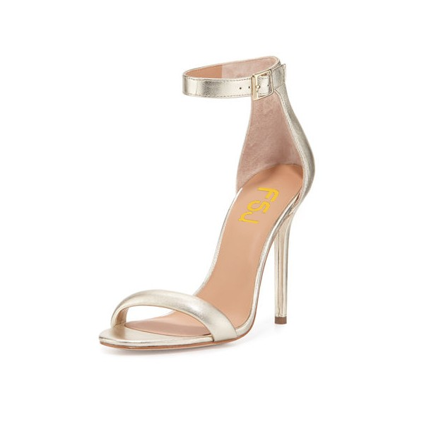Champagne Ankle Strap Sandals Open Toe Stiletto Heel Office Sandals image 1