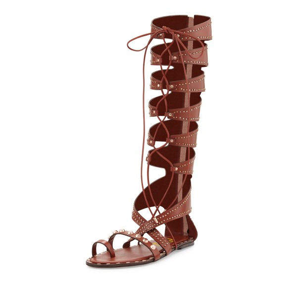 Brown Embellished Gladiator Sandals Lace-up Strappy Sandals image 1