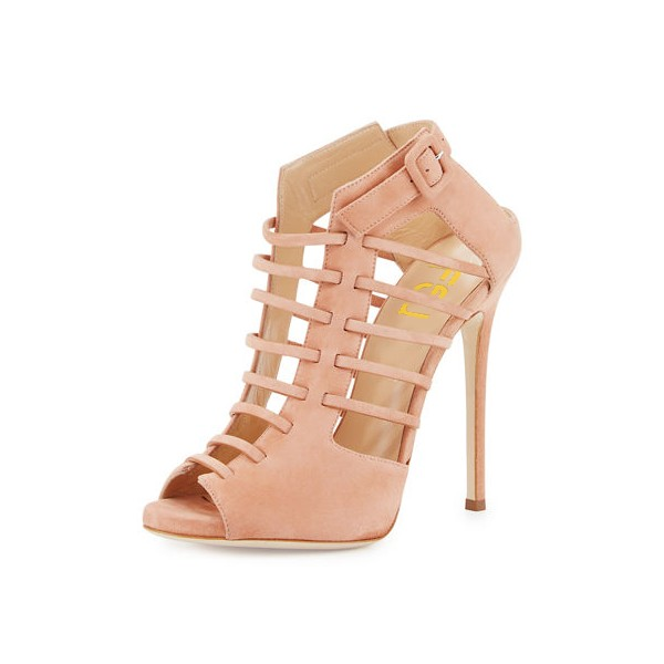 Women's Salmon Strappy Peep Toe Hollow out Stiletto Heels Sandals image 1