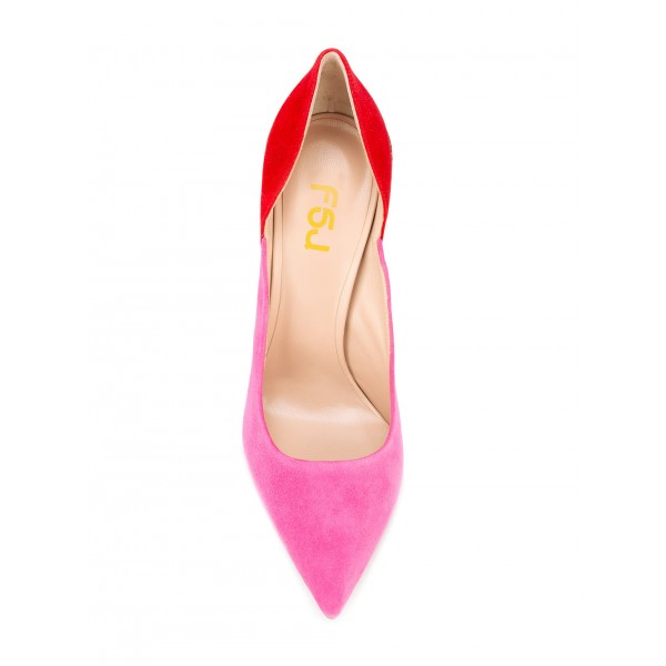 Pink and Red Stiletto Heels Suede Pointy Toe Pumps for Female image 2