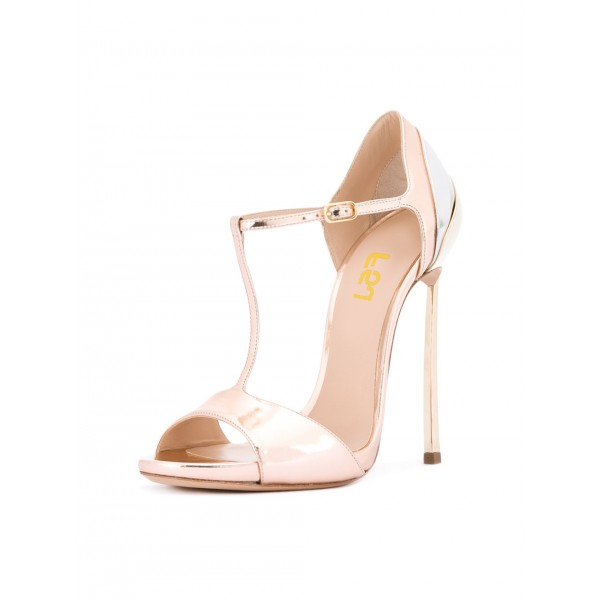 Women's Pink Formal Shoes Peep Toe Sweet T-Strap Sandals image 1