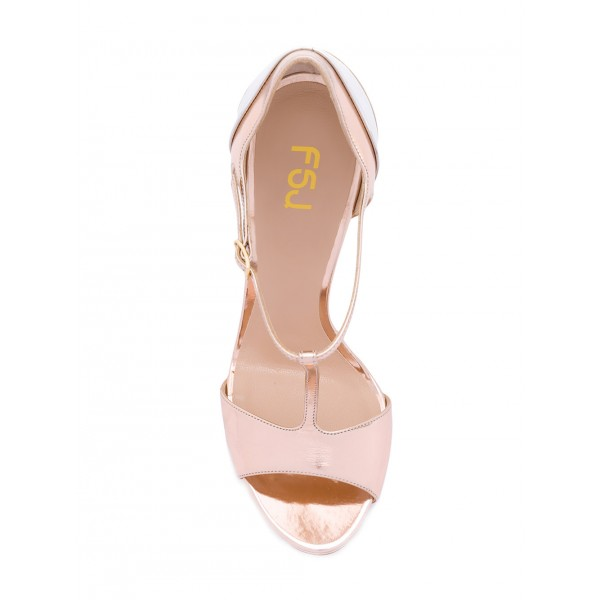 Women's Pink Formal Shoes Peep Toe Sweet T-Strap Sandals image 2