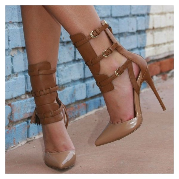 Women's Brown Buckle Strappy Heels Pointed Toe Stiletto Heels Shoes image 1