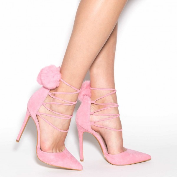 Pink Pom Pom Shoes Lace up Strappy Stiletto Heel Cute Pumps image 4