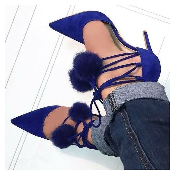 Royal Blue Pom Pom Shoes Lace up Strappy Stiletto Heel Pumps image 1