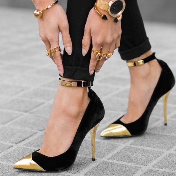 Black and Gold Ankle Strap Heels Pointy Toe Stilettos Pumps image 1