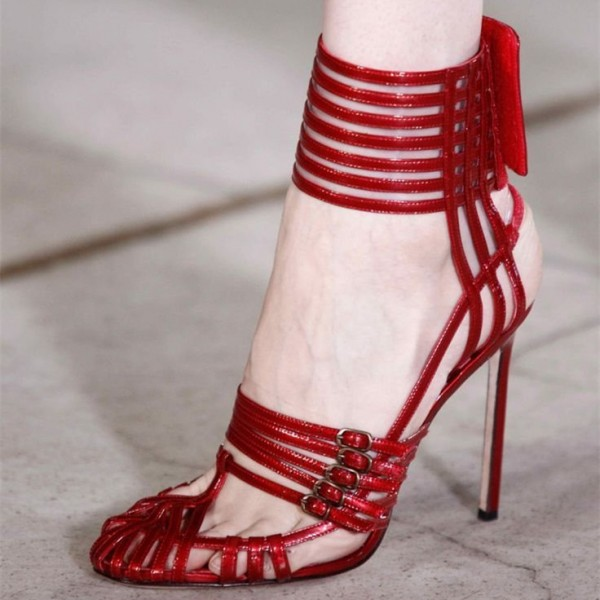 Red Evening Shoes Buckles Sexy Stiletto Heels Sandals for Prom image 1