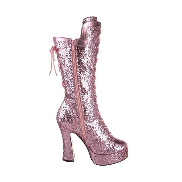 Pink Stripper Shoes Glitter Platform Lace up Mid-calf Boots image 3