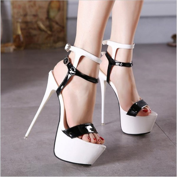 Black and White Heels Platform Stripper Shoes Stilettos High Heels image 3