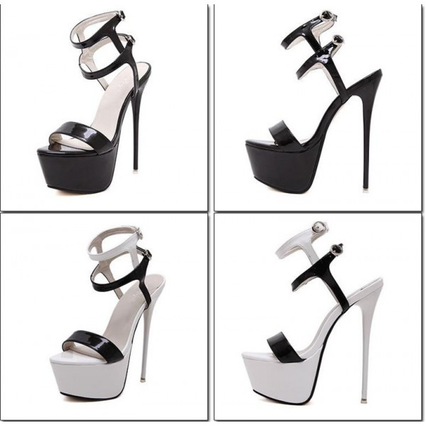 Black and White Heels Platform Stripper Shoes Stilettos High Heels image 2