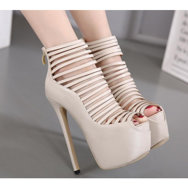 Beige Strappy Heels Peep Toe Platform Pumps High Heel Shoes image 2