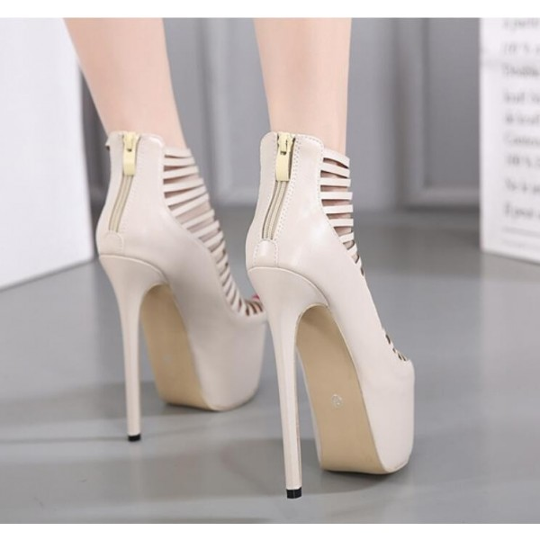 Beige Strappy Heels Peep Toe Platform Pumps High Heel Shoes image 3