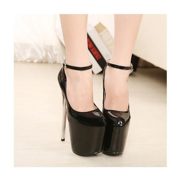 Black Stripper Heels Ankle Strap Patent Leather Platform Pumps image 4