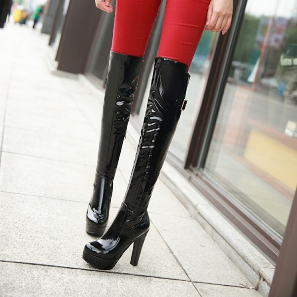 Women's Black Patent Leather Over-The-Knee Sexy Stripper Heels Boots image 2