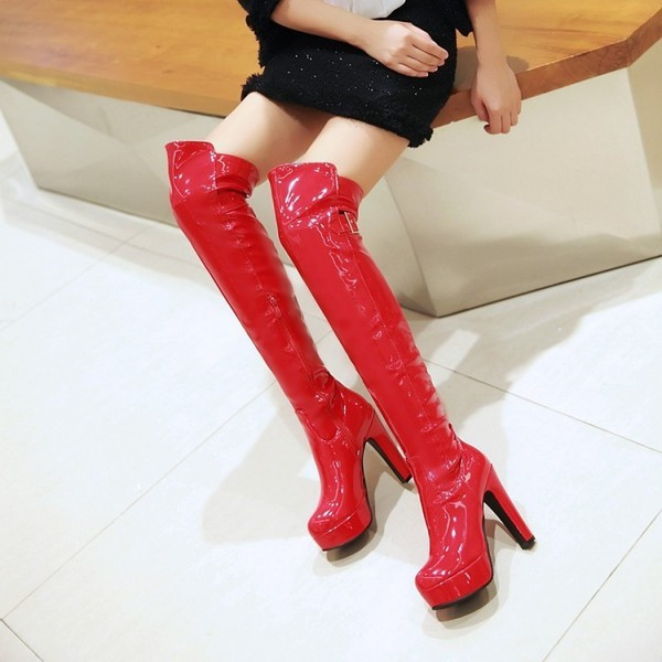 Red Stripper Shoes Patent Leather Chunky Heel Over-the-knee Boots image 2