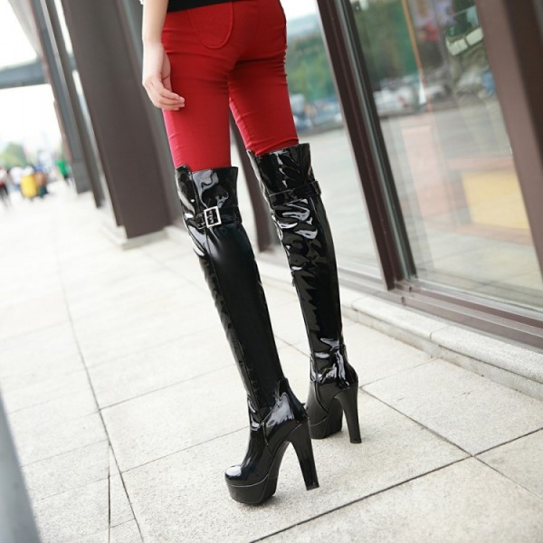 Women's Black Patent Leather Over-The-Knee Sexy Stripper Boots image 3