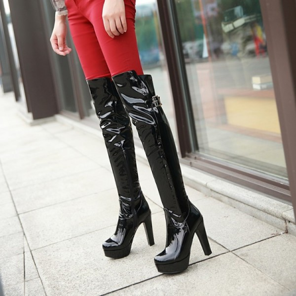Women's Black Patent Leather Over-The-Knee Sexy Stripper Heels Boots image 1
