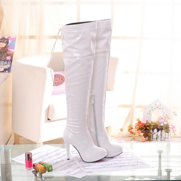 Ivory Stripper Shoes Patent Leather Over-the-knee Boots image 2
