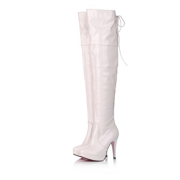 Women's White Patent Leather Stiletto Heel  Over-The-Knee 4 Inch Heels Stripper Boots image 1