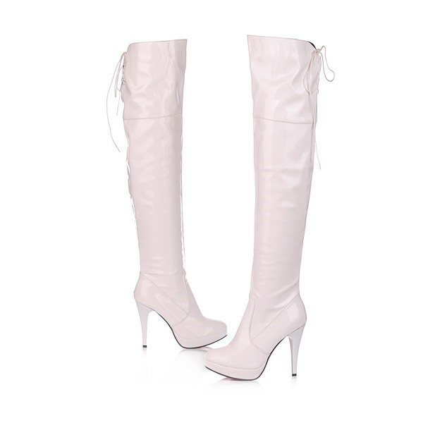 Ivory Stripper Shoes Patent Leather Over-the-knee Boots image 1