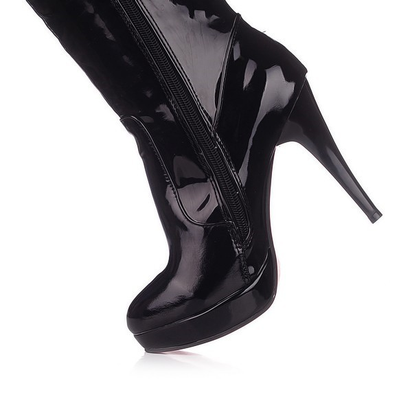 Black Long Boots Patent Leather Platform Over-the-Knee Boots image 2